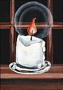 Wax Painting Posters - Glowing Candle in Window Poster by Elaine Hodges
