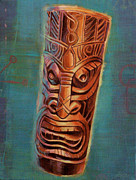 Ebony Paintings - Glowing Ebony Tiki God by Shawn Shea