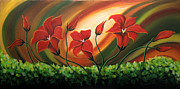 Landscape Greeting Cards Painting Framed Prints - Glowing Flowers 4 Framed Print by Uma Devi