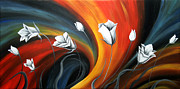 Abstract Floral Art Paintings - Glowing Flowers 5 by Uma Devi