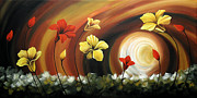 Landscape Greeting Cards Painting Framed Prints - Glowing Flowers 6 Framed Print by Uma Devi