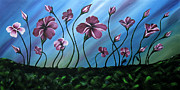 Flowers Canvas Painting Prints - Glowing Flowers 7 Print by Uma Devi