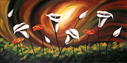 Landscape Greeting Cards Painting Prints - Glowing Flowers Print by Uma Devi