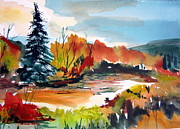 Autumn Trees Drawings Prints - Glowing in Autumn Print by Mindy Newman