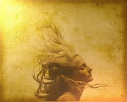 Flowing Hair Posters - Glowing in the wind Poster by Gun Legler