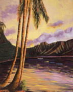 Red Point Paintings - Glowing Kualoa Diptych 1 of 2 by Patti Bruce - Printscapes