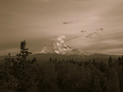 Snow-covered Landscape Pyrography Metal Prints - Glowing Mt. Hood Metal Print by Melissa  Maderos