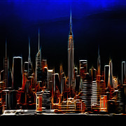 Cities Digital Art Metal Prints - Glowing New York Metal Print by Stefan Kuhn