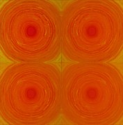Centre Mixed Media Prints - Glowing orange Print by Christopher Rowlands
