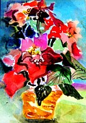 Pink Gold Flora Prints - Glowing Poinsettias Print by Mindy Newman
