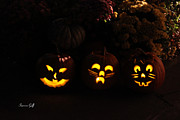 Carved Pumpkin Prints - Glowing Pumpkins Print by Suzanne Gaff