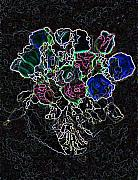 Bright Colors Pyrography - Glowing Roses by Beverly Trivane