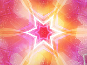Meditative Digital Art Posters - Glowing Star Poster by Ann Croon