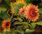 Jewel Tone Paintings - Glowing Sunflowers by Sharen AK Harris
