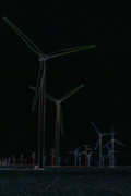 Power Plants Posters - Glowing Wind Farm Poster by Alan Look
