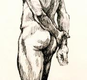 Male Nudes Drawings Prints - Gluteus Maximus Print by Roz McQuillan