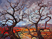 Red Rock Canyon Paintings - Gnarled Oaks by Erin Hanson