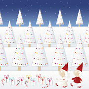 Christmas Tree Prints - Gnomes - December Print by cupofsnowflakes