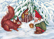 Squirrel Mixed Media - Gnomes Present by Peggy Wilson