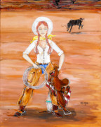 Cowgirl Prints Paintings - Go Ahead and BUCK by Jim Burch