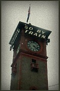 Clock Pyrography Posters - Go By Train Poster by Lani PVG   Richmond