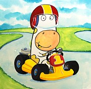 Scott Nelson Painting Framed Prints - Go Cart Cow Framed Print by Scott Nelson