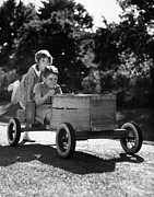 Personal Land Vehicle Framed Prints - Go-carting Framed Print by Archive Photos