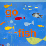 Fish Print Framed Prints - Go Fish Framed Print by Laurie Breen
