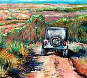 Canyon Drawings Posters - Go Jeeping Poster by Linda Shackelford