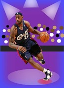 Lebron James Digital Art Posters - Go LeBron Poster by Michael Chatman