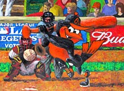 Baseball Portraits Mixed Media Posters - GO Orioles Poster by Dan Haraga