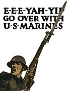 World War One Framed Prints - Go Over With US Marines Framed Print by War Is Hell Store