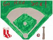 Baseball Bat Mixed Media Prints - Go Red Sox Print by Rosemary Mazzulla