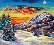 Snow-covered Landscape Painting Posters - Go Tell It on the Mountain Poster by Suzanne King
