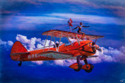 Biplane Acrylic Prints - Go That Way said the Navigator Acrylic Print by Chris Lord