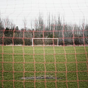 Soccer Field Framed Prints - Goal Nets on Soccer Field Framed Print by Jetta Productions, Inc