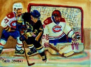 Scores Posters - Goalie  And Hockey Art Poster by Carole Spandau
