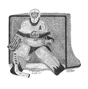 Goalie Drawings Posters - Goalie Poster by Bob Garrison