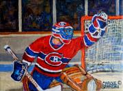 Montreal Hockey Art Painting Posters - Goalie Makes The Save Stanley Cup Playoffs Poster by Carole Spandau