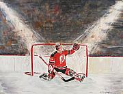Hockey Paintings - Goalkeeper by Miroslaw  Chelchowski