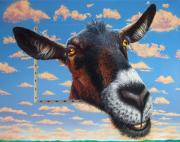 Domestic Animals Paintings - Goat a la Magritte by Jurek Zamoyski