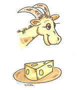 Funny Prints Drawings Posters - Goat Cheese Poster by Gail Shelton