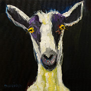 Oil Framed Prints - Goat Gloat Framed Print by Diane Whitehead