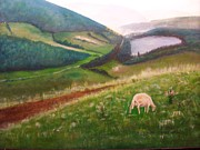 Mountain Goat Painting Prints - Goat on Welsh Mountain Print by Malcolm Clark