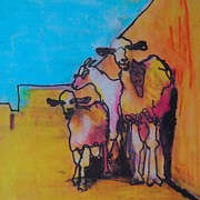 Sunshine Mixed Media Framed Prints - Goat Shade Framed Print by Fiona Finlay