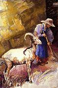 Women Pastels Posters - Goat with a Sweeper Poster by Ellen Dreibelbis
