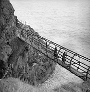 Mid Adult Women Prints - Gobbins Footbridge Print by Fox Photos