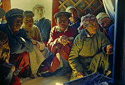 Concentration Prints - Gobi Desert Dwellers Listen Intently Print by Dean Conger