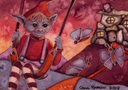 Child Swinging Painting Originals - Goblin Hill ACEO by Cara Brown