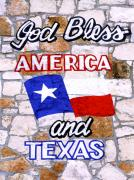 God Bless America Prints - God Bless America and Texas 2 Print by Marilyn Hunt